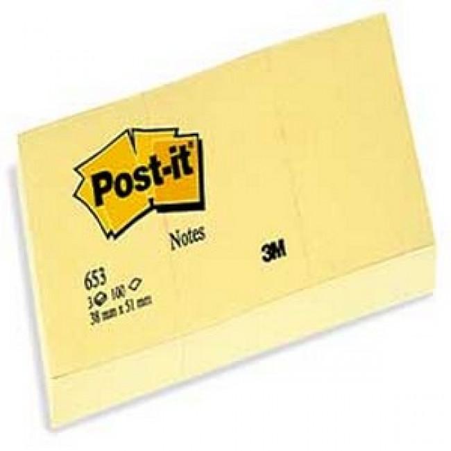 Post-it 653 Yapışkanlı Not Kağıdı Sarı 38X51mm 100 Yaprak