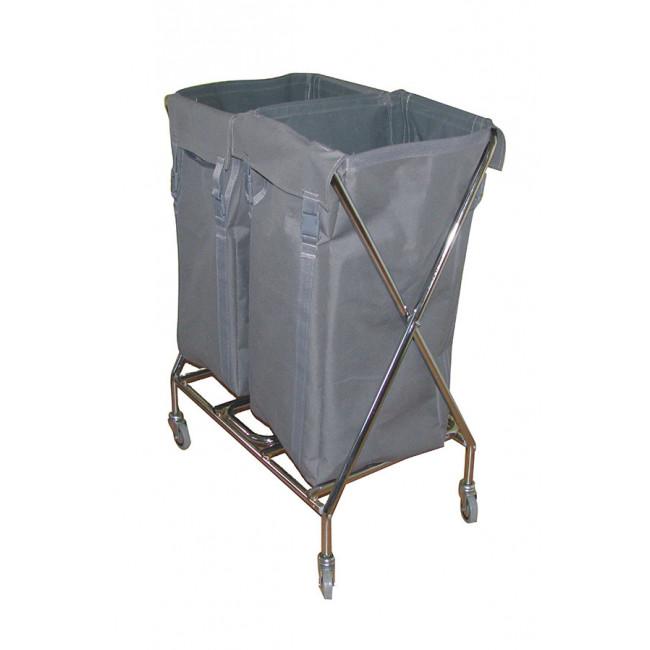 Çöp / Çamaşır Toplama Arabası 2x100LT (Krom) Kod: ÇT266MK