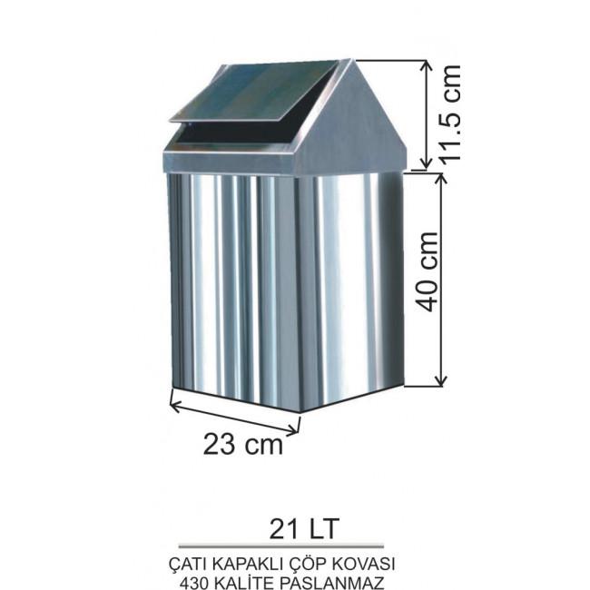 Çatı Kapaklı Metal Çöp Kovası No:3 21LT