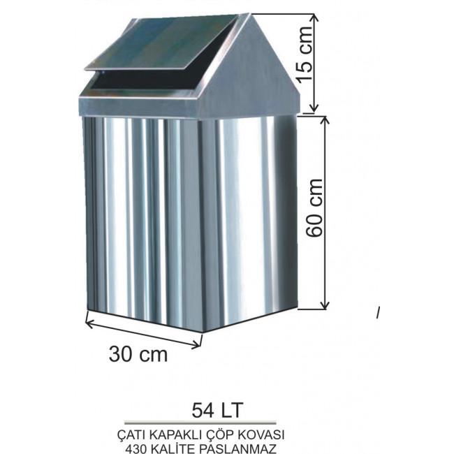 Çatı Kapaklı Metal Çöp Kovası No:4 54LT
